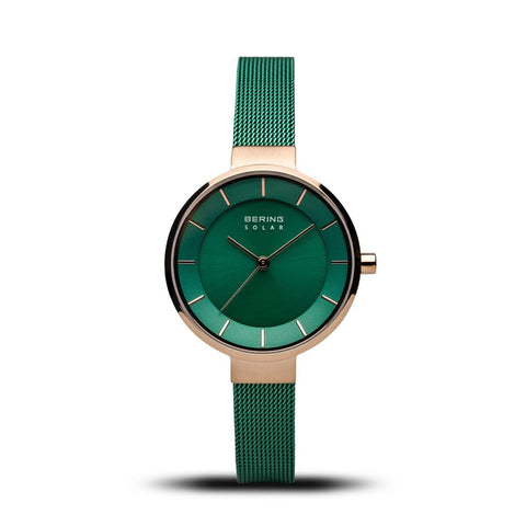 BERING Solar 31mm Polished Rose Gold Green Mesh Strap Women's Watch 14631-Charity