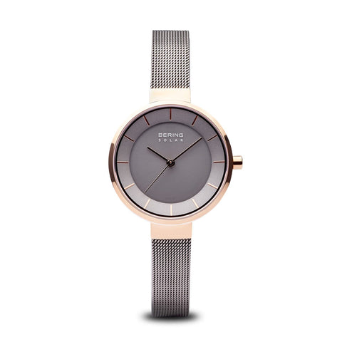 BERING Solar 31mm Polished Rose Gold Grey Mesh Strap Women's Watch 14631-369