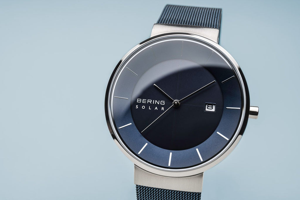 BERING Solar Blue Milanese Strap Polished Silver Case Men's Watch 14639-307