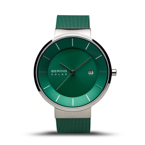 BERING Solar Green Milanese Strap Polished Silver Case Men's Watch 14639-Charity