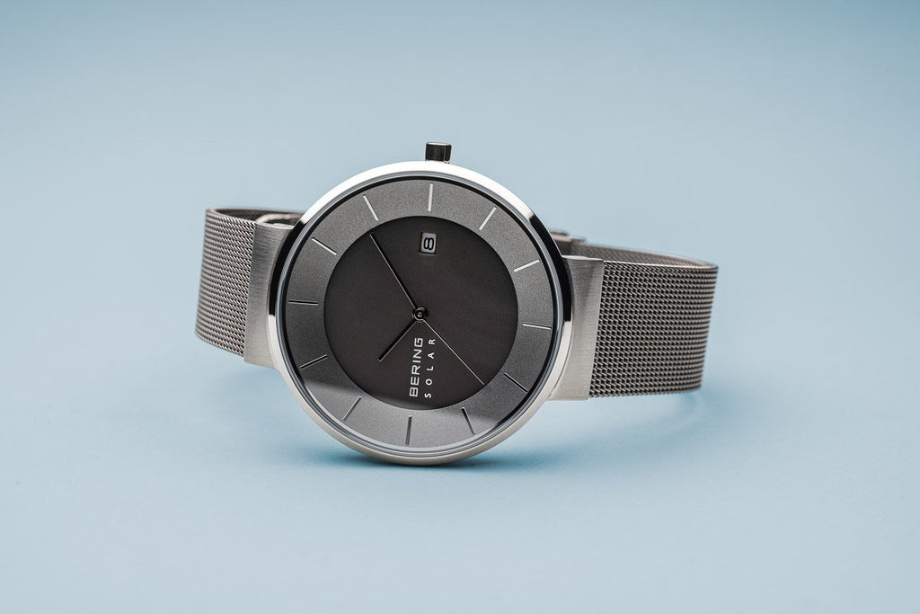BERING Solar Grey Milanese Strap Polished Silver Case Men's Watch 14639-309