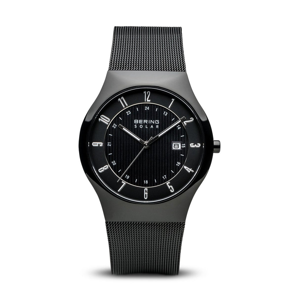 BERING 14640-222 Men's Solar Watch Black Dial Black Stainless Steel Mesh Band