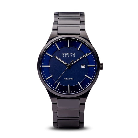 BERING Solar Brushed Black Titanium Blue Dial Men's Watch 15239-727