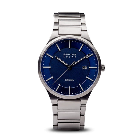 BERING Solar Brushed Silver Titanium Blue Dial Men's Watch 15239-777