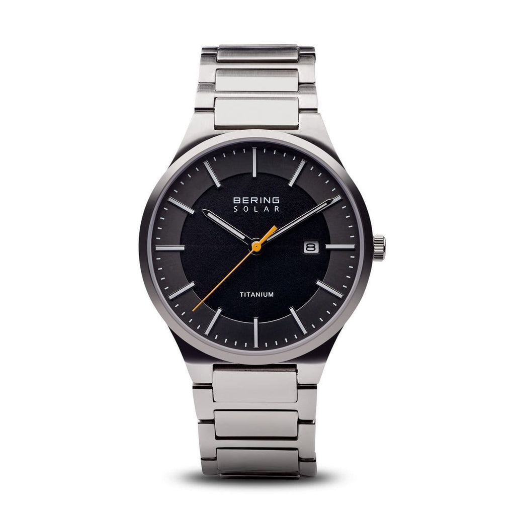 BERING Solar Brushed Silver Titanium Grey Dial Men's Watch 15239-779