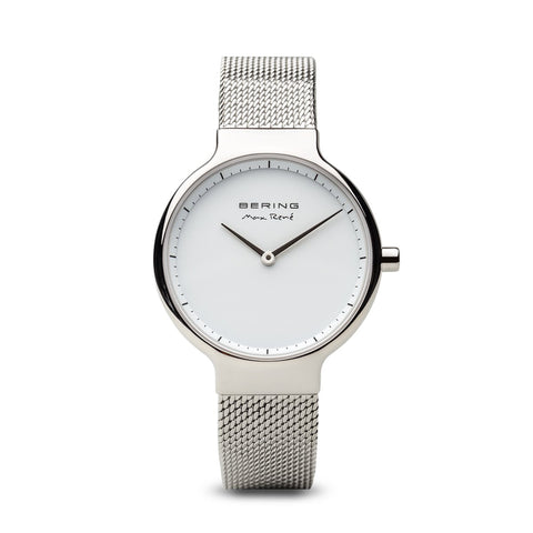 BERING Max Rene 31mm Polished Silver Case Silver Mesh Band Women's Watch 15531-004
