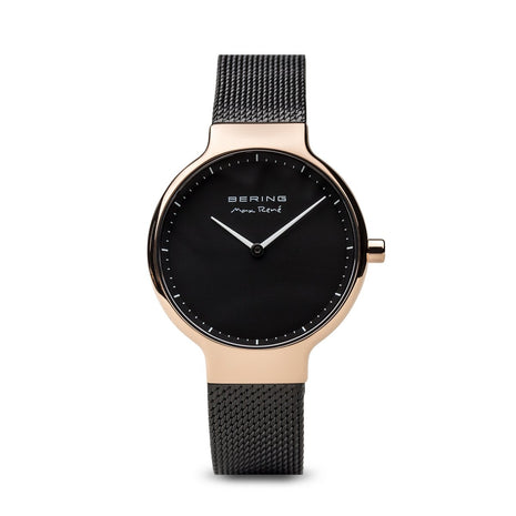 BERING Max Rene 31mm Polished Rose Gold Case Black Mesh Band Women's Watch 15531-262