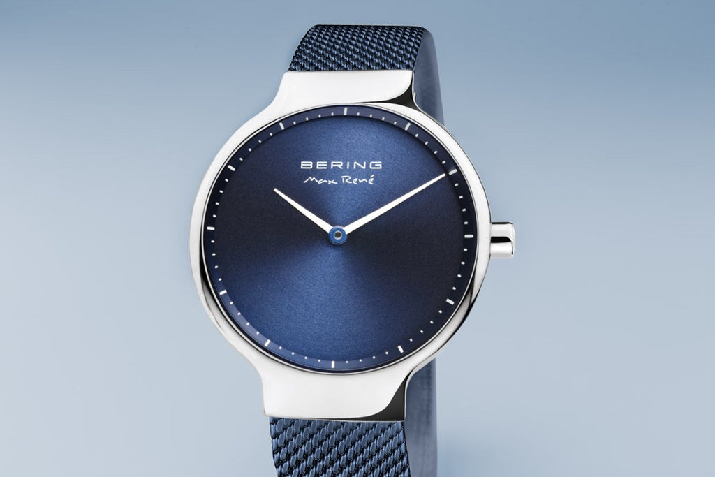 BERING Max René 31mm Polished Silver Milanese Strap Blue Women's Watch 15531-307