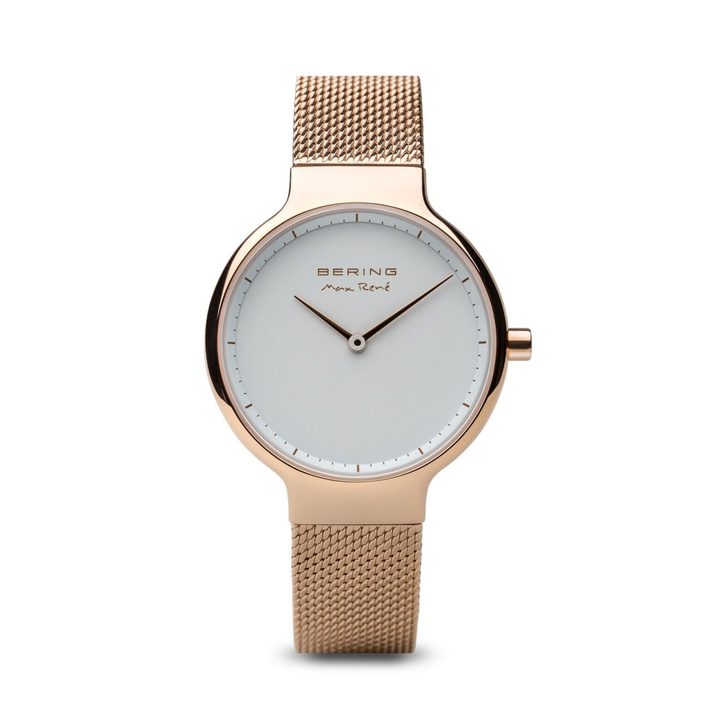 BERING Max Rene 31mm Polished Rose Gold Case Mesh Band Women's Watch 15531-364