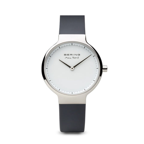 BERING Max Rene 31mm Polished Silver Case Grey Rubber Strap Women's Watch 15531-400
