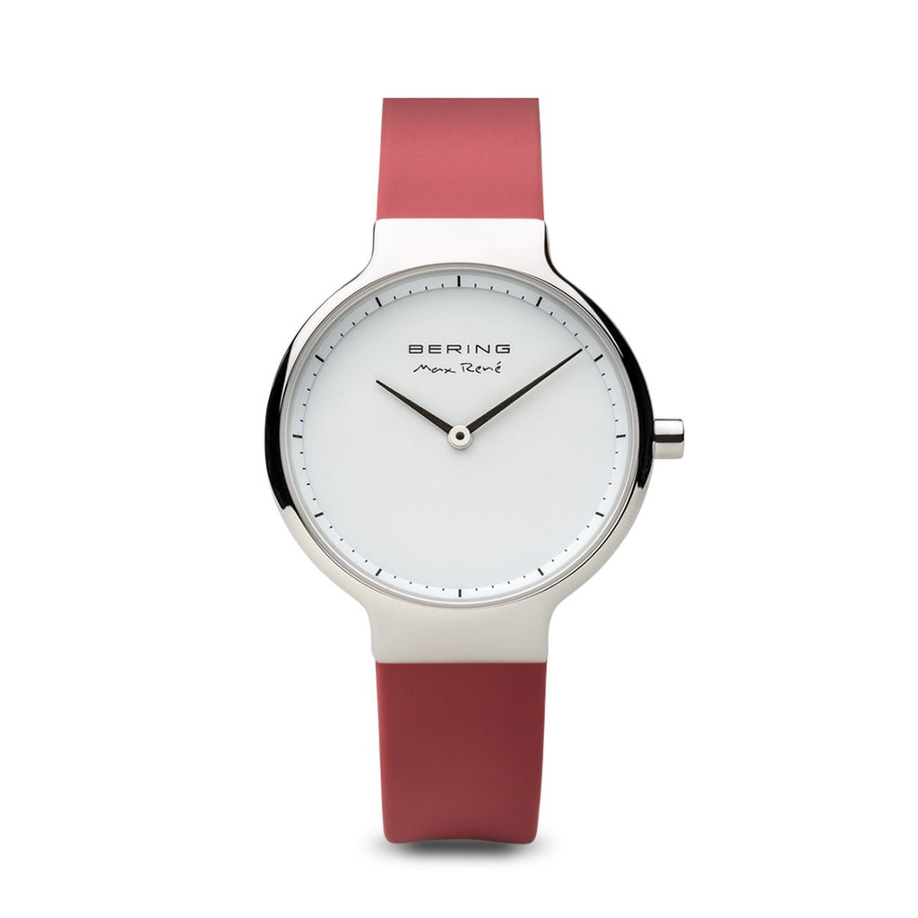 BERING Max Rene 31mm Polished Silver Case Red Rubber Strap Women's Watch 15531-500
