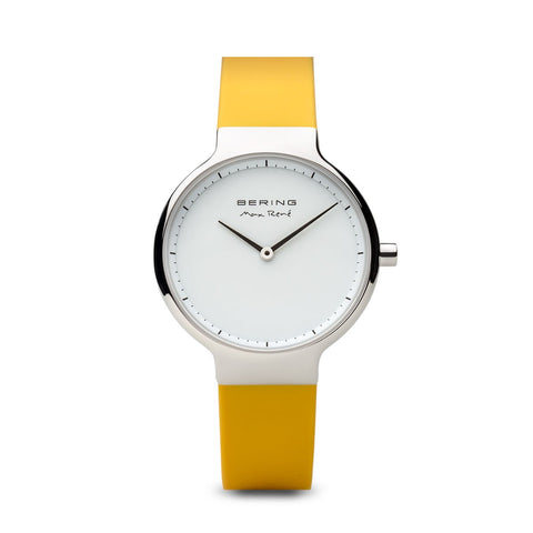 BERING Max Rene 31mm Polished Silver Case Yellow Rubber Strap Women's Watch 15531-600