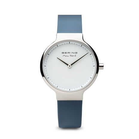 BERING Max Rene 31mm Polished Silver Case Blue Rubber Strap Women's Watch 15531-700