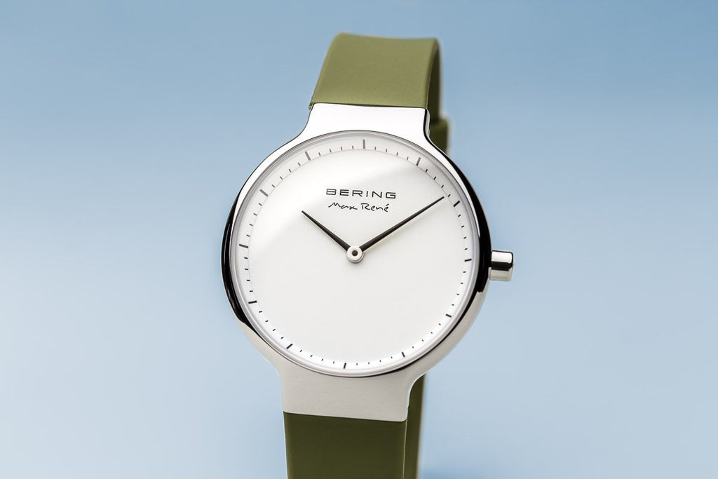 BERING Max Rene 31mm Polished Silver Case Green Rubber Strap Women's Watch 15531-800