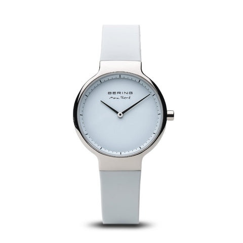 BERING Max Rene 31mm Polished Silver Case White Rubber Strap Women's Watch 15531-904
