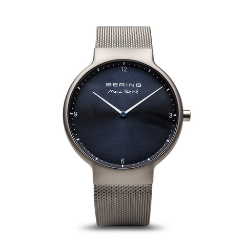 BERING Max Rene 40mm Brushed Grey Case Grey Mesh Band Men's Watch 15540-077