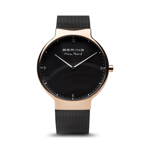 BERING Max Rene 40mm Polished Rose Gold Case Black Mesh Band Men's Watch 15540-262