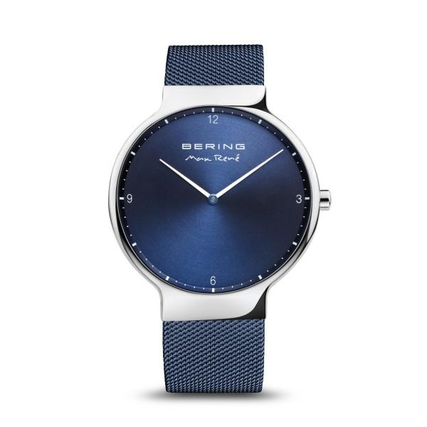 BERING Max René 40mm Polished Silver Milanese Strap Blue Men's Watch 15540-307