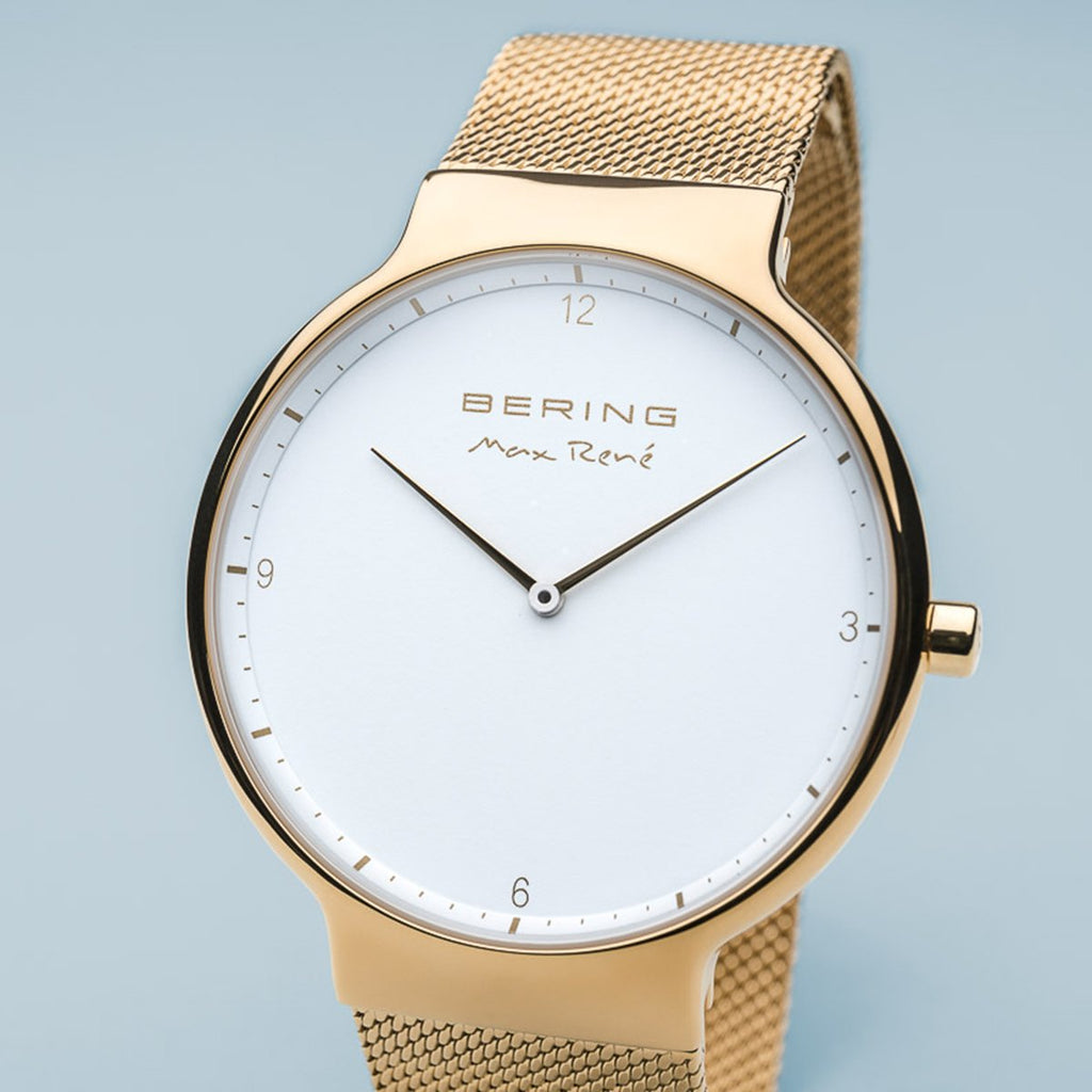 BERING Max Rene 40mm Polished Gold Mesh Band Men's Watch 15540-334
