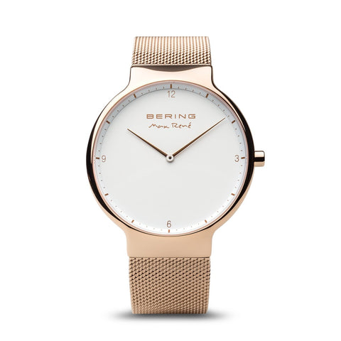 BERING Max Rene 40mm Polished Rose Gold Mesh Band Men's Watch 15540-364
