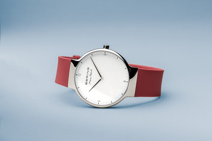 BERING Max Rene 40mm Polished Silver Case Red Rubber Strap Men's Watch 15540-500