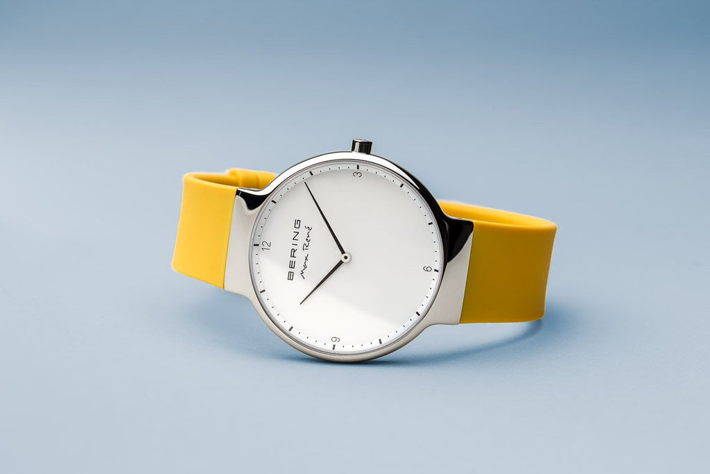 BERING Max Rene 40mm Polished Silver Case Yellow Rubber Strap Men's Watch 15540-600
