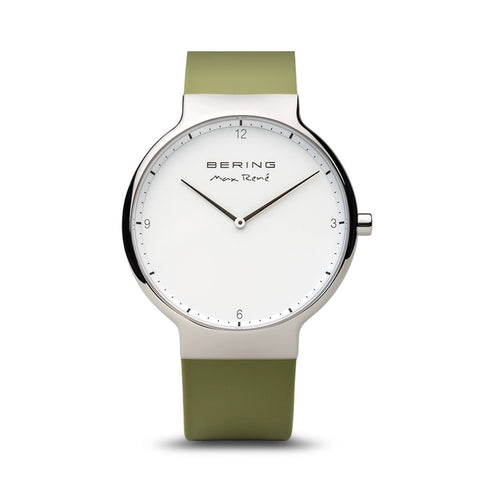 BERING Max Rene 40mm Polished Silver Case Green Rubber Strap Men's Watch 15540-800