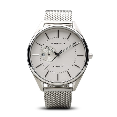 BERING Automatic 43mm Polished Silver Milanese Strap White Men's Watch 16243-000