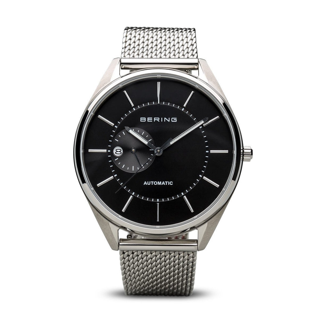 BERING Automatic Stainless Steel Milanese Strap Black Dial Men's Watch 16243-077