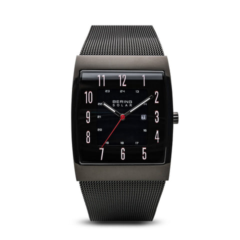 BERING Solar 33mm Black Square Polished Case Mesh Strap Men's Watch 16433-122