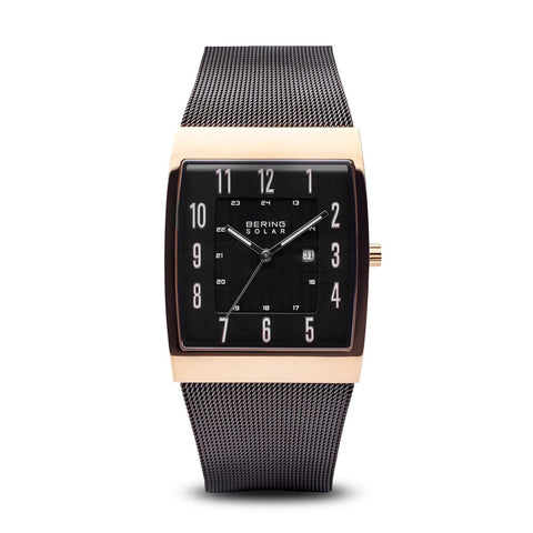 BERING Solar 33mm Rose Gold Square Polished Case Mesh Strap Men's Watch 16433-166