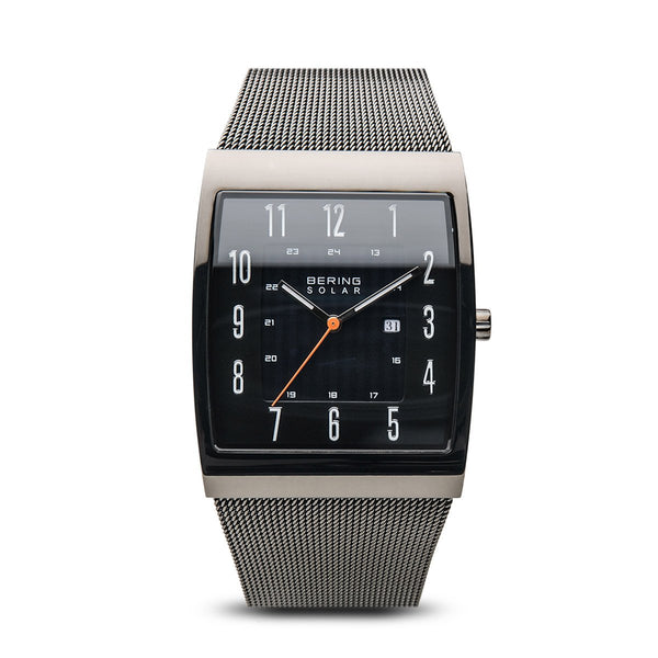 BERING Solar 33mm Grey Square Polished Case Mesh Strap Men's Watch 16433-377