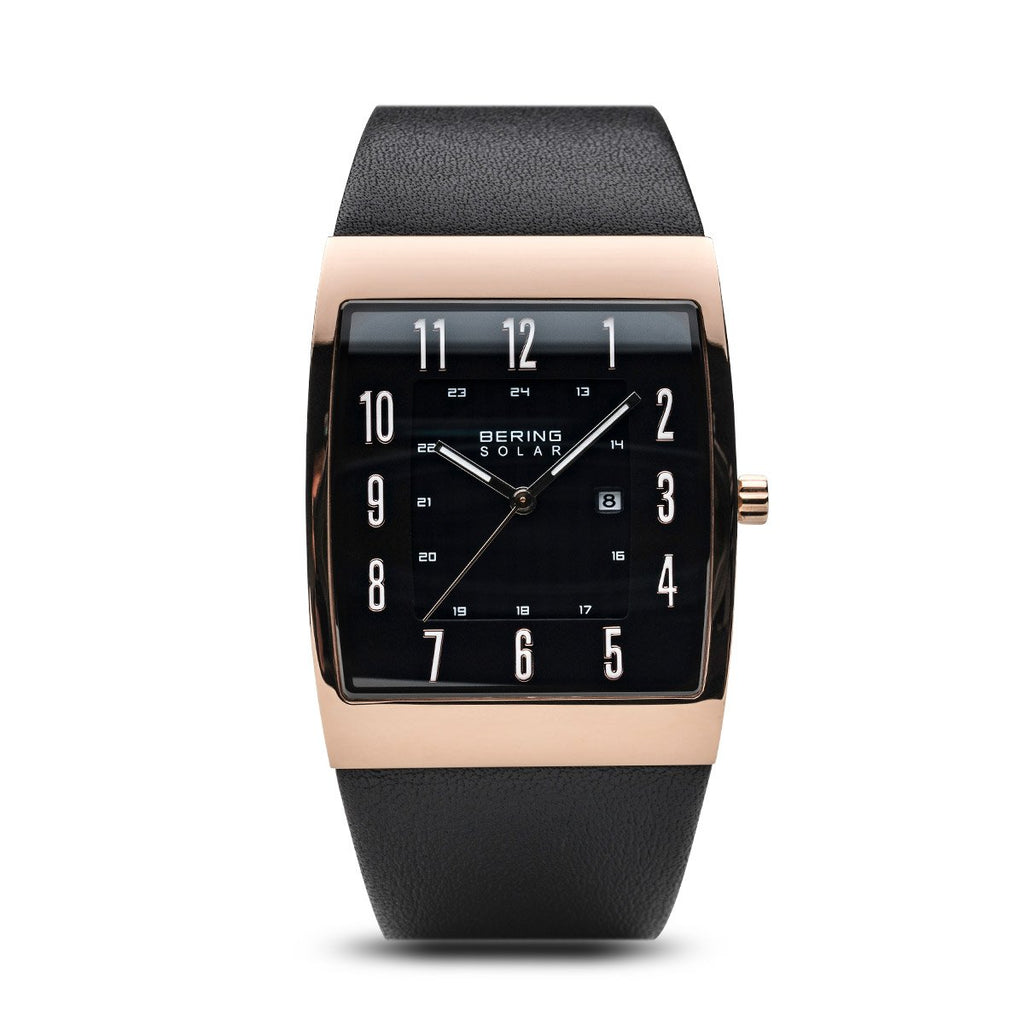 BERING Solar 33mm Rose Gold Square Polished Case Black Strap Men's Watch 16433-462