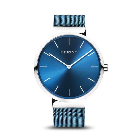BERING Classic 40mm Polished Silver Milanese Strap Blue Unisex Watch 16540-308