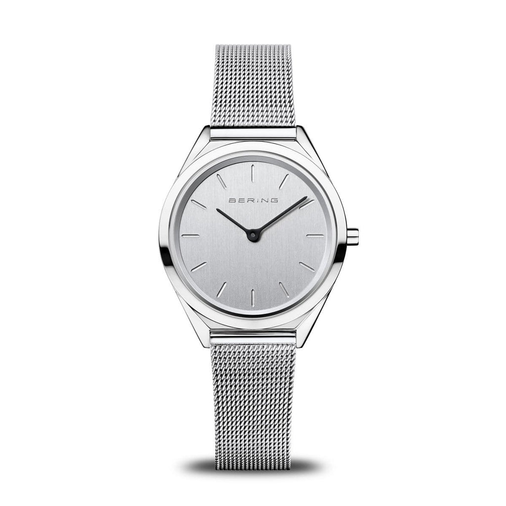 BERING Ultra Slim 31mm Polished Case Silver Mesh Strap Women's Watch 17031-000