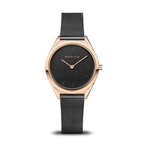 BERING Ultra Slim 31mm Polished Rose Gold Case Black Mesh Strap Women's Watch 17031-166