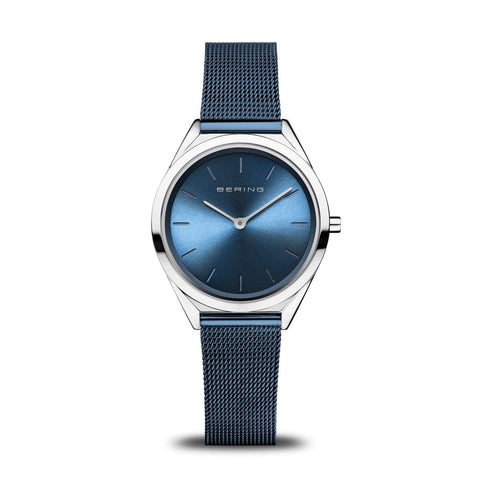 BERING Ultra Slim 31mm Polished Case Blue Mesh Strap Women's Watch 17031-307