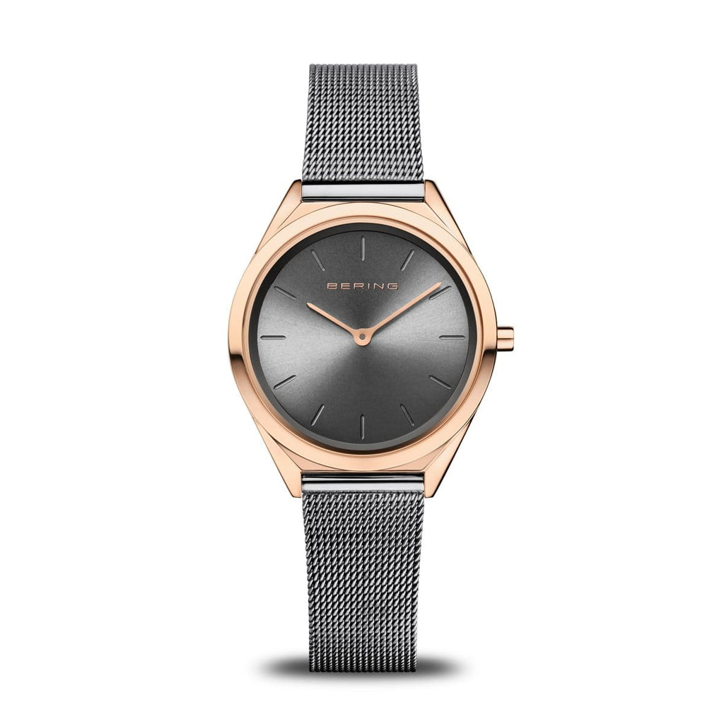 BERING Ultra Slim 31mm Polished Rose Gold Case Grey Mesh Strap Women's Watch 17031-369