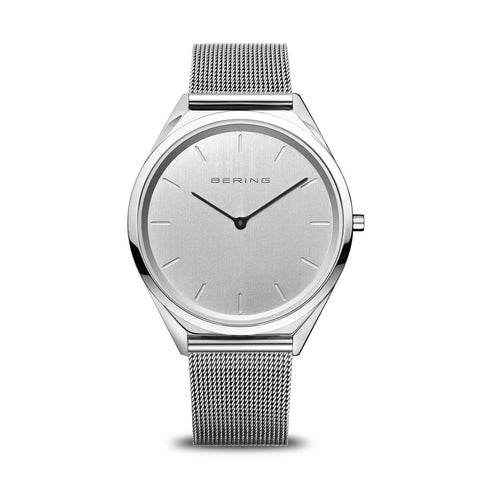 BERING Ultra Slim 39mm Polished Case Silver Mesh Strap Unisex Watch 17039-000
