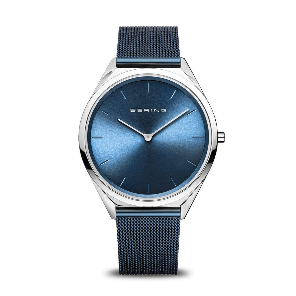BERING Ultra Slim 39mm Polished Case Blue Mesh Strap Unisex Watch 17039-307