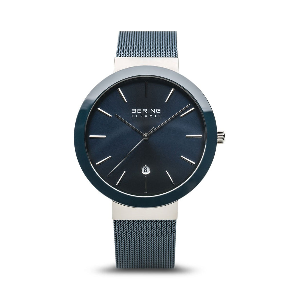 BERING Ceramic 40mm Polished Silver Case Blue Mesh Band Women's Watch 11440-387