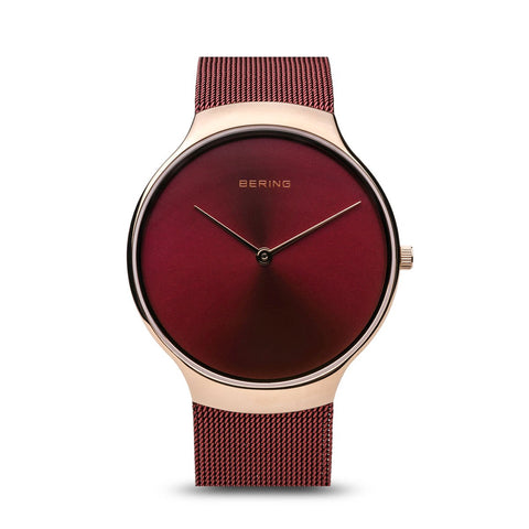 BERING Charity 38mm Polished Rose Gold Milanese Strap Red Women's Watch 13338-Charity