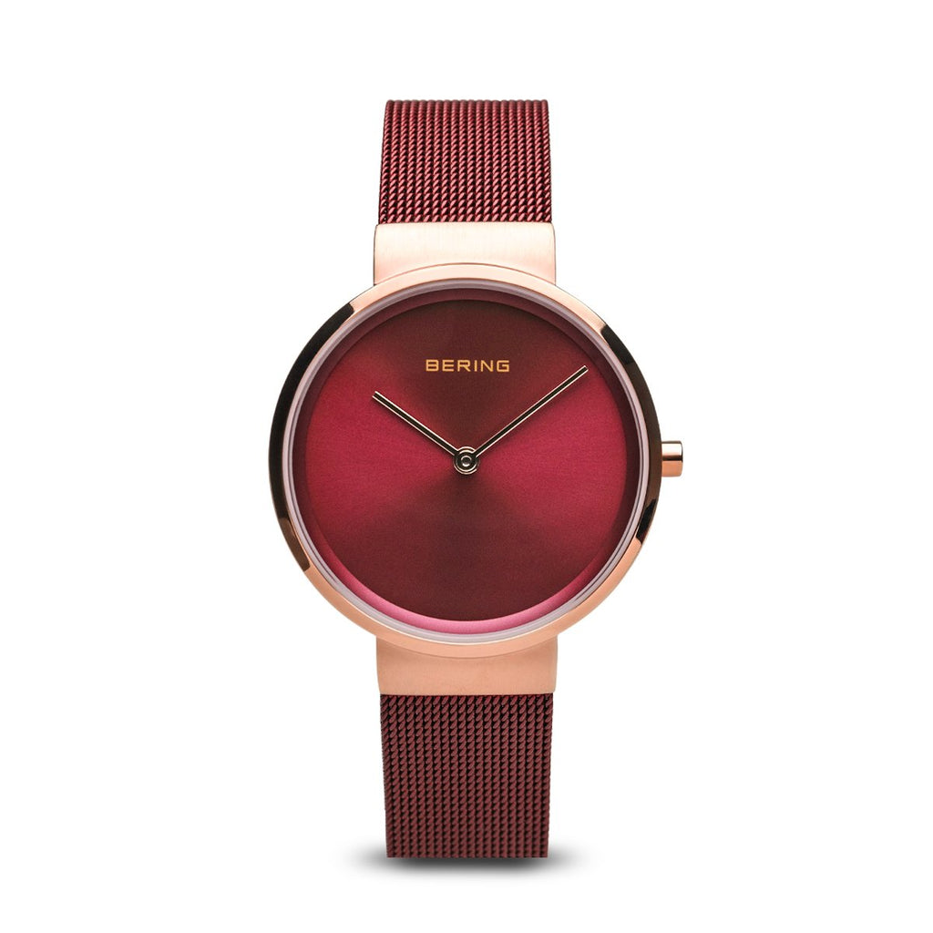 BERING Classic 31mm Polished Rose Gold Milanese Strap Red Women's Watch 14531-363