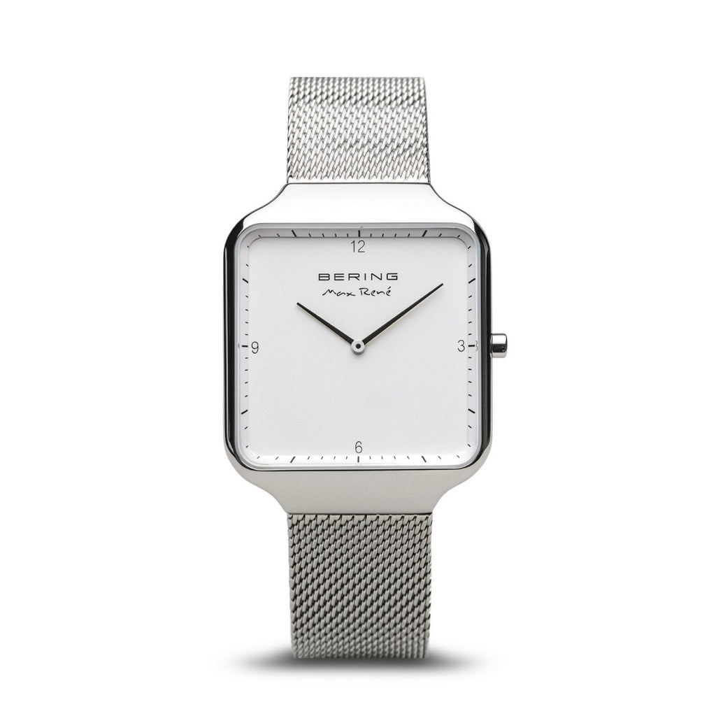 BERING Max Rene 36mm Polished Silver Milanese Strap Unisex Watch 15836-004