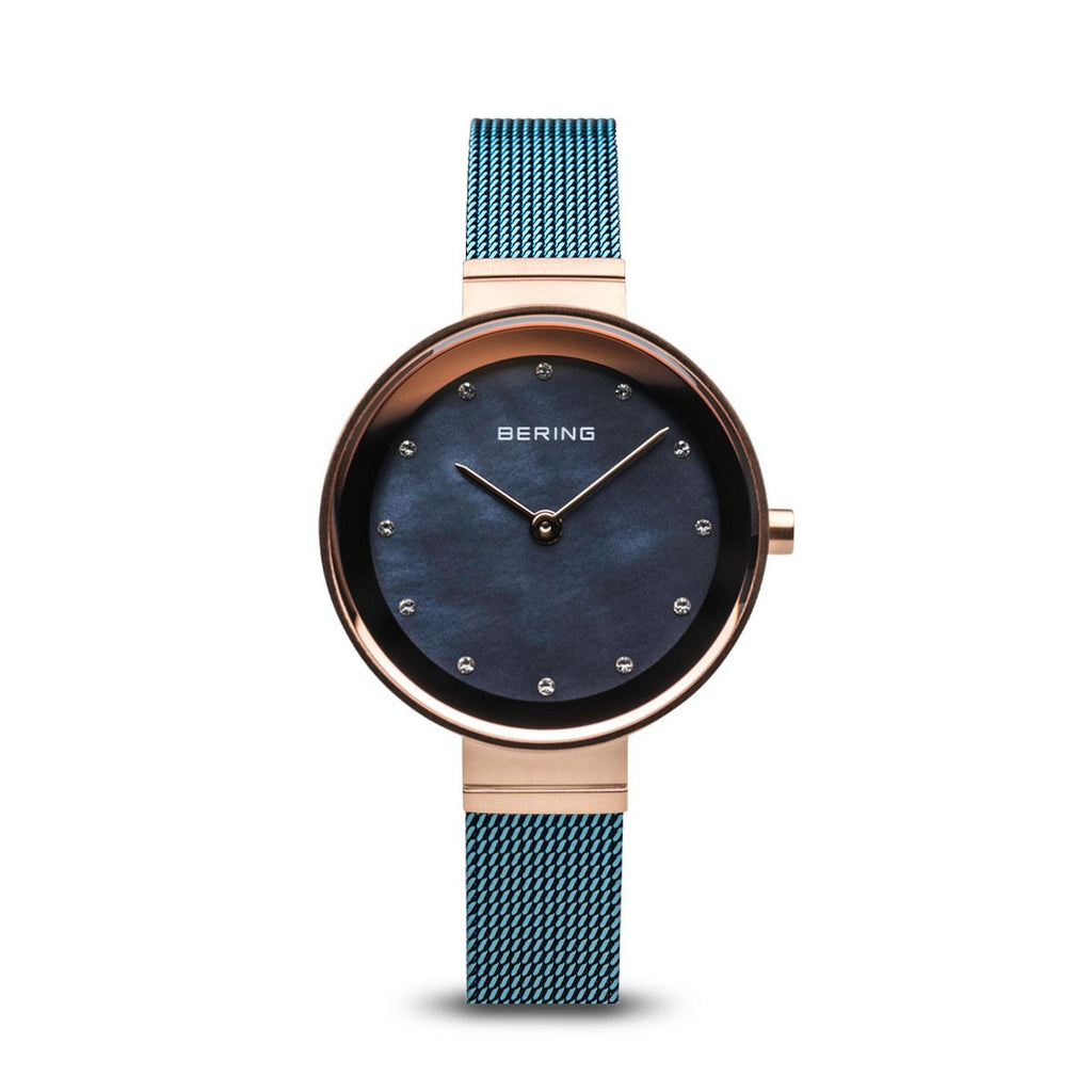 BERING Classic 28mm Polished Rose Gold Milanese Strap Blue Women's Watch 10128-368
