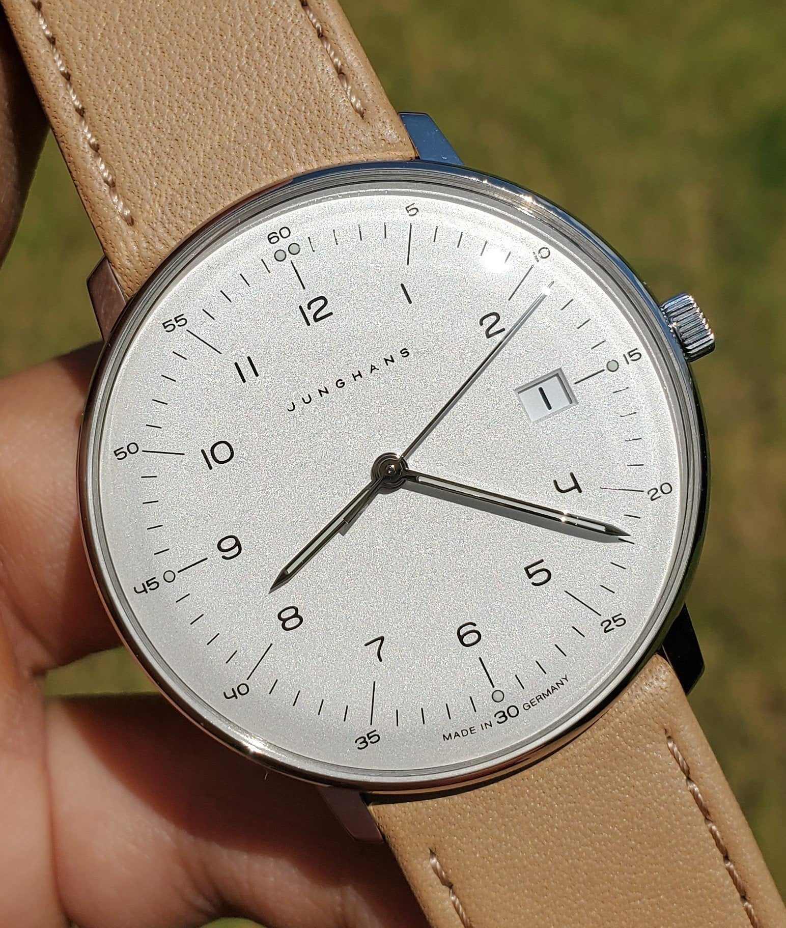 Junghans Max Bill Quartz 38mm Tan Leather Strap Men's Watch 041/4562.04