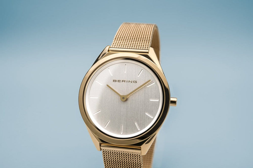 BERING Ultra Slim 31mm Polished Gold Case Gold Mesh Strap Women's Watch 17031-334