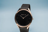 BERING Ultra Slim 39mm Polished Rose Gold Case Black Mesh Strap Unisex Watch 17039-166
