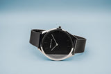 BERING Ultra Slim 39mm Polished Case Black Mesh Strap Unisex Watch 17039-102