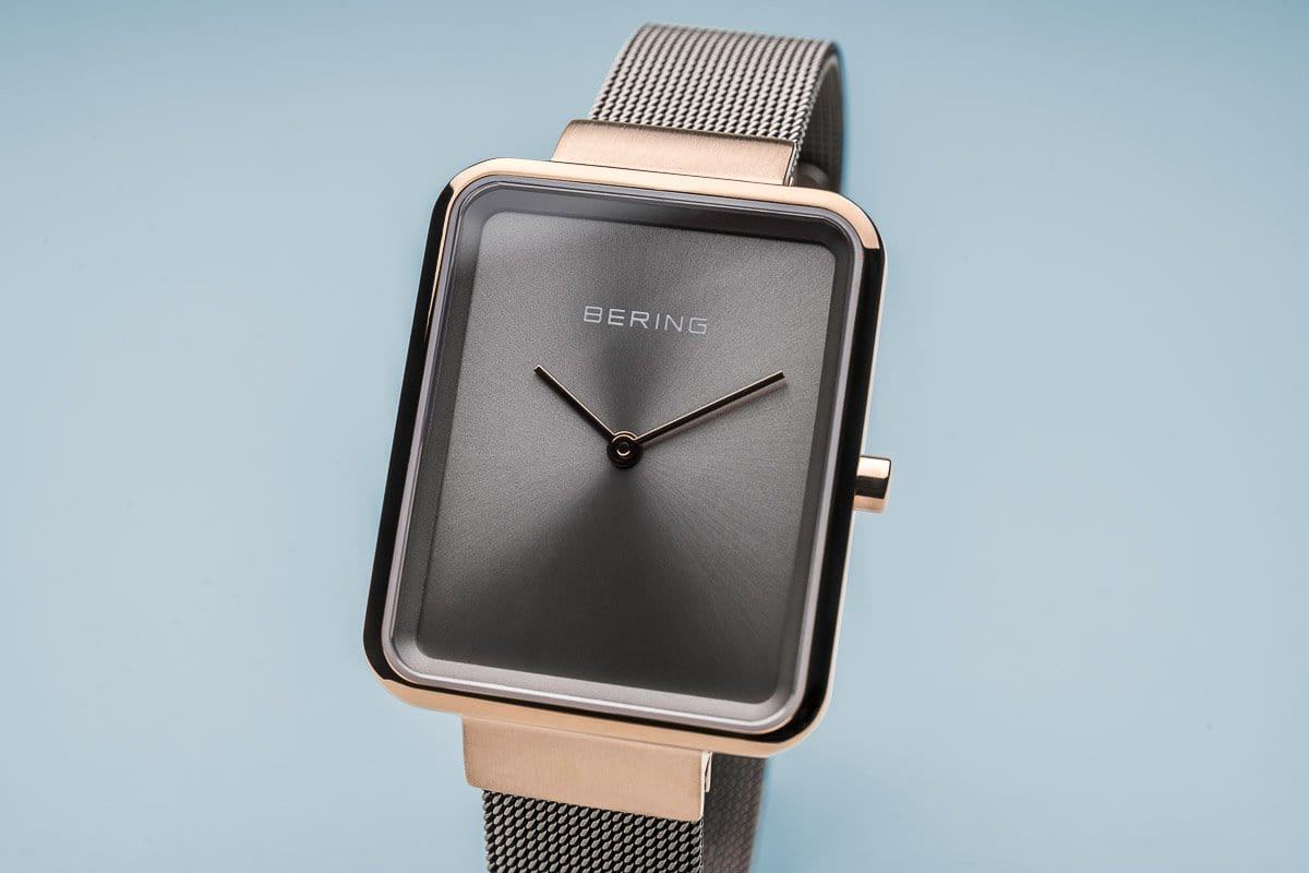 BERING Classic Rectangle Case Grey-Rose Gold Women's Watch 14528-369